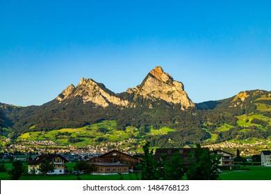 View on the Kleiner and Grosser Mythen - Swiss Schwyz Alps in Switzerland