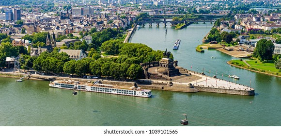 View on Koblenz, the river Mosel and Deutsches Eck from the fortress Ehrenbreitstein. Where the Rhine and Mosel Rivers Meet.