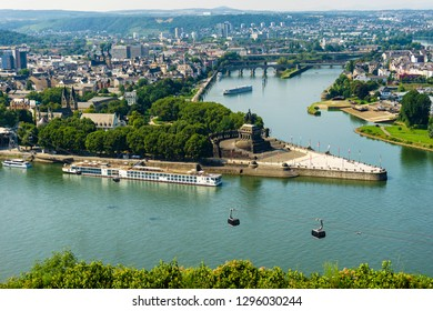 View on Koblenz, the river Mosel and Deutsches Eck. Where the Rhine and Mosel Rivers Meet.