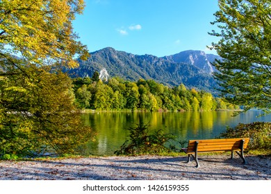 View on Kochelsee (Lake Kochel, Köchelsee), alps mountains in autumn. Bavaria (Bayern), Germany.