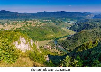 View on Kolpa (Kupa - croatian) river from Kozice mount, Bela Krajina (White Carniola) region in Slovenia, Europe. - Shutterstock ID 1038255925