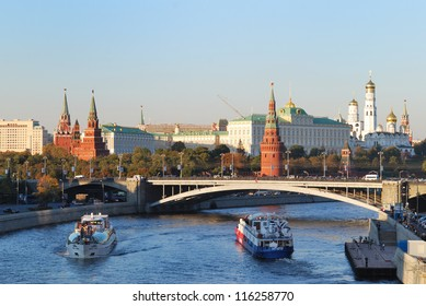 View on Kremlin and Moscow-river with boats.