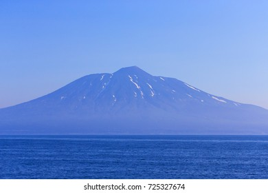 View on a Kunashir island with volcano Tyatya.