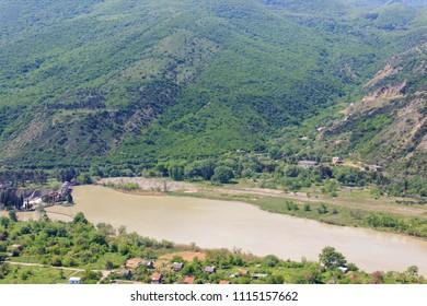 View on the Kura (Mtkvari) river in Caucasus mountains, Georgia