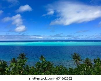 View on lagoon and reef of Huahine Iti, Huahine, French Polynesia