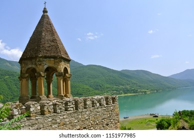 View on the lake from Ananuri castle complex. It was a fortification and seat of the feudal dynasty which ruled the area from the 13th century. Located on the Aragvi River in Georgia.