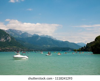 view on the lake of Annecy with boat, France