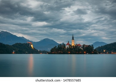 View on the Lake Bled and the church on the Bled island and the Bled castle by twilight