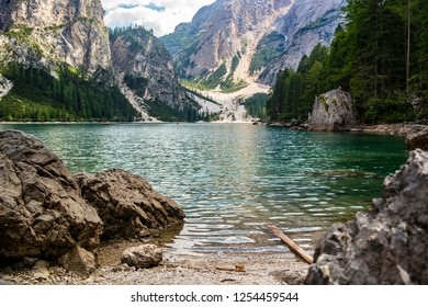 View on the lake braies in Alta Pusteria in the province of Bolzano, Trentino Alto Adige - Italy