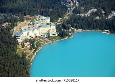 The view on the Lake Louise and Fairmont Chateau Hotel from Big Beehive in Banff National Park on August 25, 2017