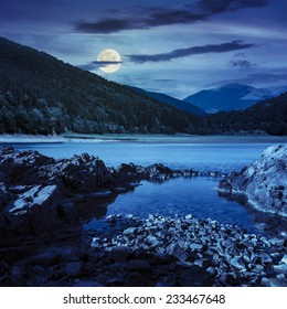 view on lake with rocky shore and some boulders near pine forest on mountain  with high vista far away at night in full moon light