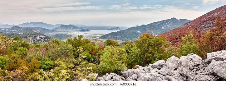 View on the lake Skadar from the village Zastek