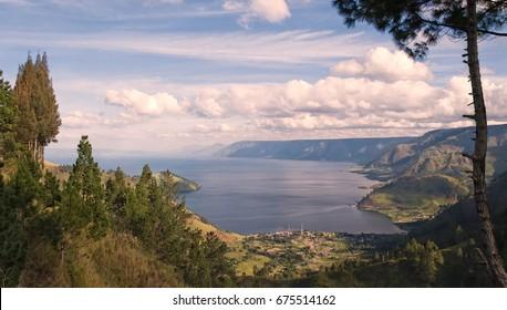 View on lake toba or danau toba in north sumatra.