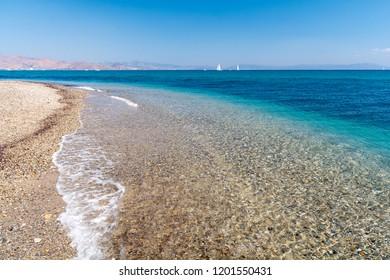 view on Lambi beach on Kos island, Greece