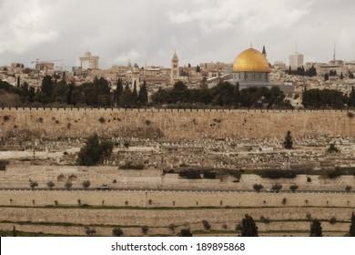 View on the landmarks of Jerusalem Old City,
