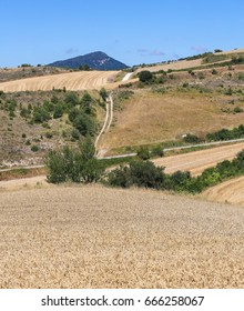View on the landscape at the village Salinas de Anana in Basque Country, Northern Spain