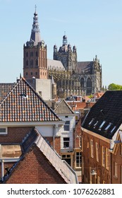 View on the late Gothic St. Johns Cathedral in the city of 's-Hertogenbosch, province of Noord-Brabant, the Netherlands