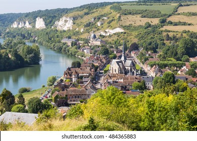 View on Les Andelys next to the river Seine seen from castle gaillard in the region Normandie, France