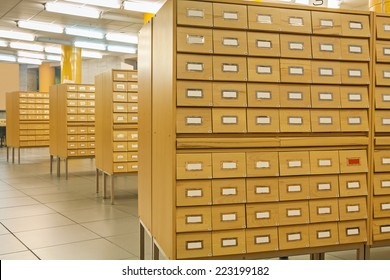 view on library wooden card catalog