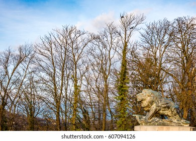 A view on the lion statue on the Schlossberg in Graz, Austria