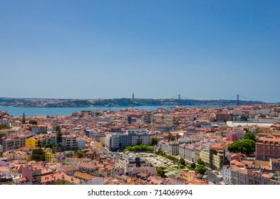 View on Lisbon city and bridge 25 de Abril, Portugal
