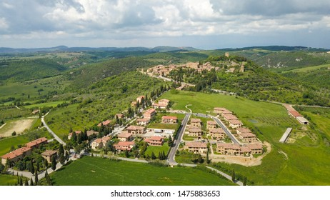 View on the little town of Monticchiello, Tuscany