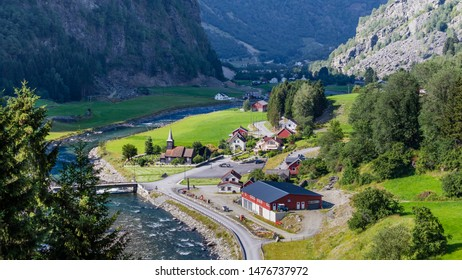 View on little village from the most beautiful train journey Flamsbana between Flam and Myrdal in Aurland in Western Norway