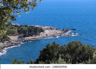 View on Lokrum Island main beach from the ruins of Fort Royal, Dubrovnik, Croatia.