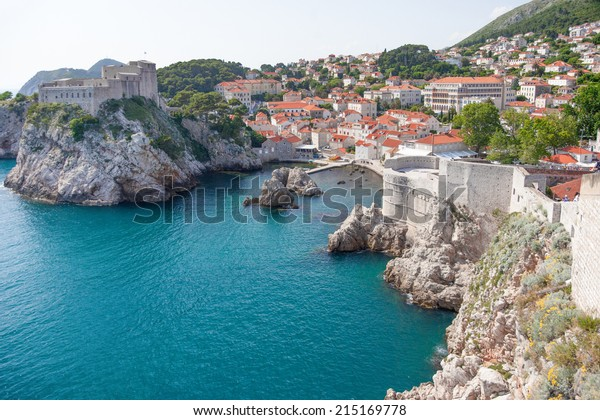 View on Lovrijenac fort, city and city walls. Lovrijenac is known as Dubrovnik's Gibraltar and it had prime importance for the defense of western part of city.