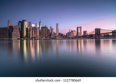 View on lower manhattan and brooklyn bridge at sunrise