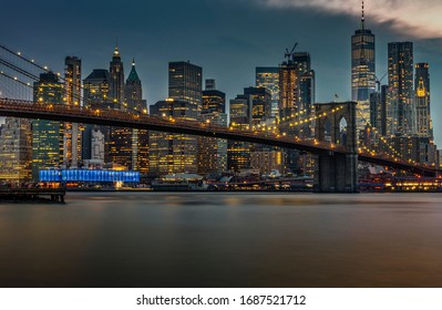 View on Lower Manhattan and Brooklyn Bridge