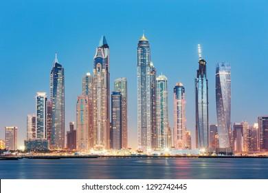 View on luxury Dubai Marina skyscrapers from the Palm man made island in Dubai,United Arab Emirates