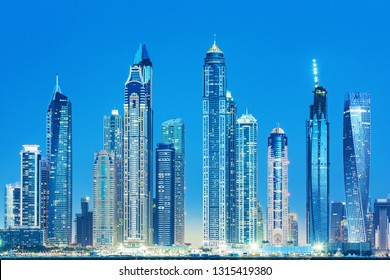View on luxury Dubai skyscrapers from the Palm man made island in Dubai,United Arab Emirates