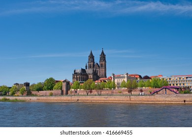 View on Magdeburg city center and downtown in Spring, Magdeburg, Germany, 2016