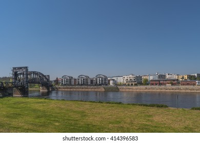 View on Magdeburg city and Elbe in Spring, Magdeburg, Germany, 2016