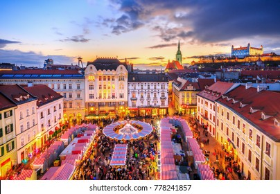 View on main square and Christmas market in historical center of Bratislava city, Slovakia.