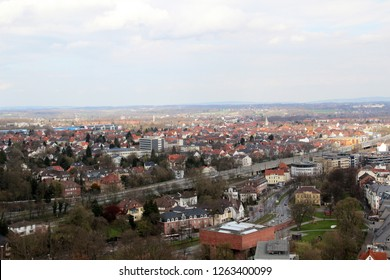 view on the main street and the buildings around in bielefeld germany photographed during a sightseeing tour at a sunny day