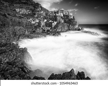 View on Manarola in black and white