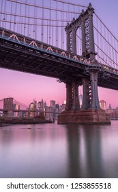 View on Manhattan Bridge and financial district from east river ,with long exposure