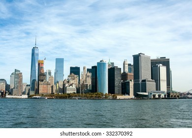 The view on Manhattan downtown from ferry boat