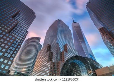 View on Manhattan skyscrapers during sunset