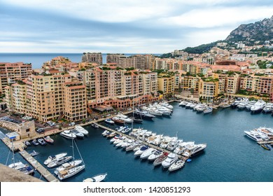 View on marina port with boats and yachts in Monaco Ville Fontvieille, cote d'azur