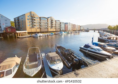 view on marina in Trondheim