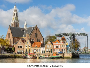 view on the Marnixkade and the Groote Kerk, Maassluis, The Netherlands