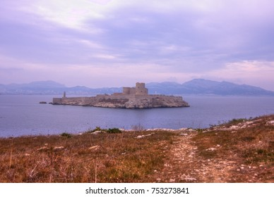 View on Marseille, If Castle and the sea from Frioul Islands.