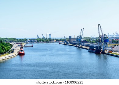 View on the Martwa Wisla river between Westerplatte and New Port in Gdansk, Poland