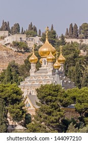 View on Mary Magdalene�s cathedral of Russian Orthodox Gethsemane convent  among trees on Mount of Olives slope. Jerusalem, Israel.