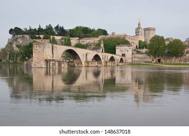 The view on medieval Avignon's landmarks from another side of a Rhone river.