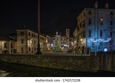 View on medieval town square with Christmas decorations, Vittorio Veneto, Italy. Concept: Italian historic centers, urban panoramas, urban Christmas decorations