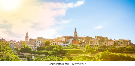 """View on the medieval village Buje in Croatia on a also known as the """"sentinel of Istria"""" for its hilltop site. The town developed from a Roman and Venetian settlement into a medieval town."""